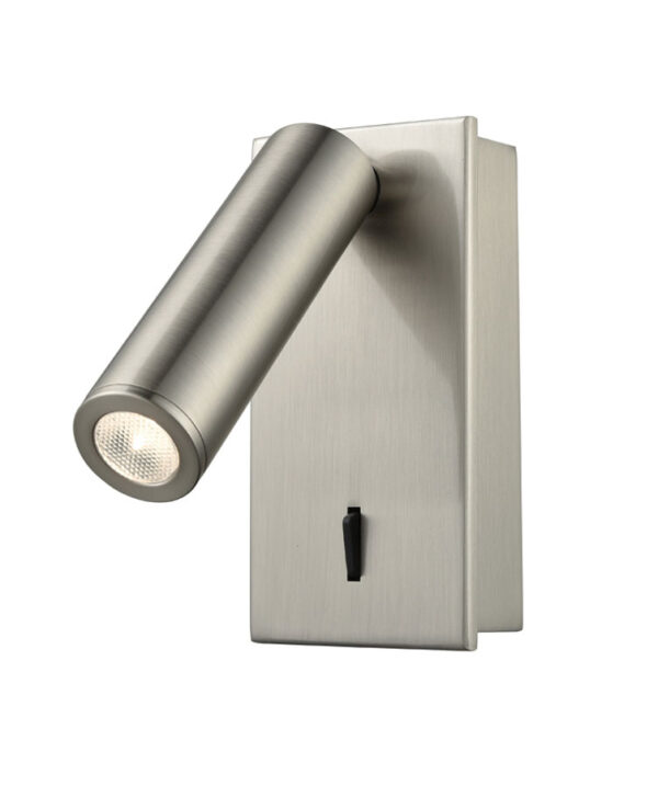 Modern Adjustable 3w LED Switched Wall Reading Light Satin Nickel