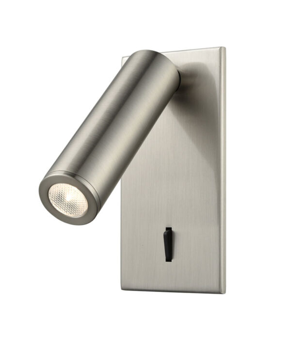 Adjustable Recessed 3w LED Switched Bed Reading Light Satin Nickel