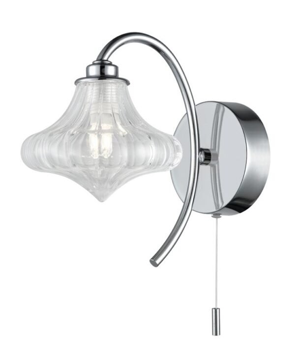 Stylish Switched 1 Light Bathroom Wall Light Chrome Clear Glass IP44