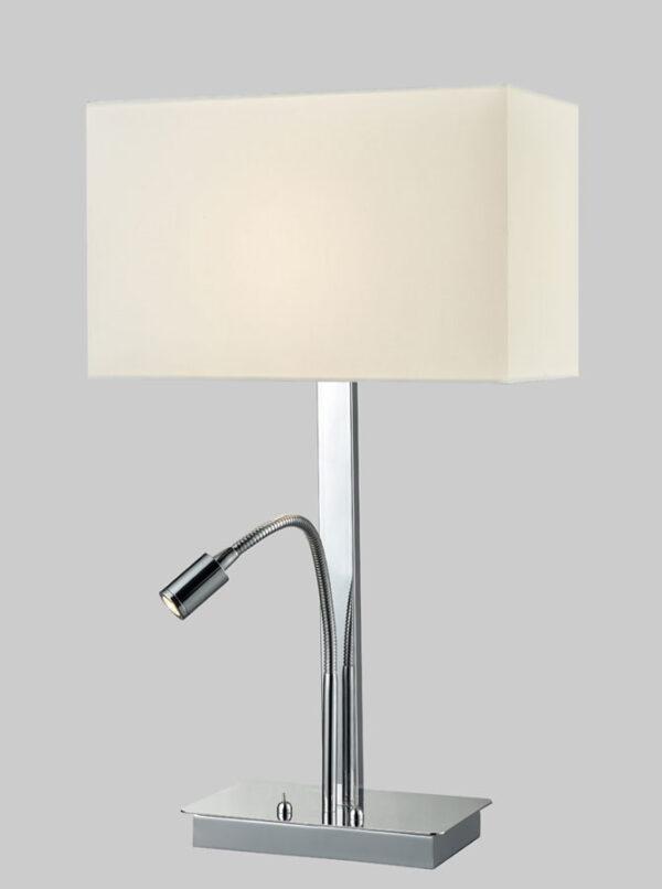 Chrome Table Lamp LED Reading Light Rectangular Off White Shade