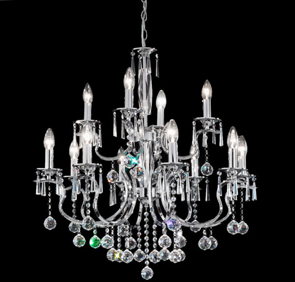 Franklite FL2155/12 Taffeta 12 light crystal chandelier in polished chrome