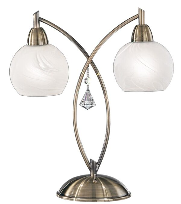 Franklite TL908 Thea 2 light table lamp in bronze with alabaster effect glass shades