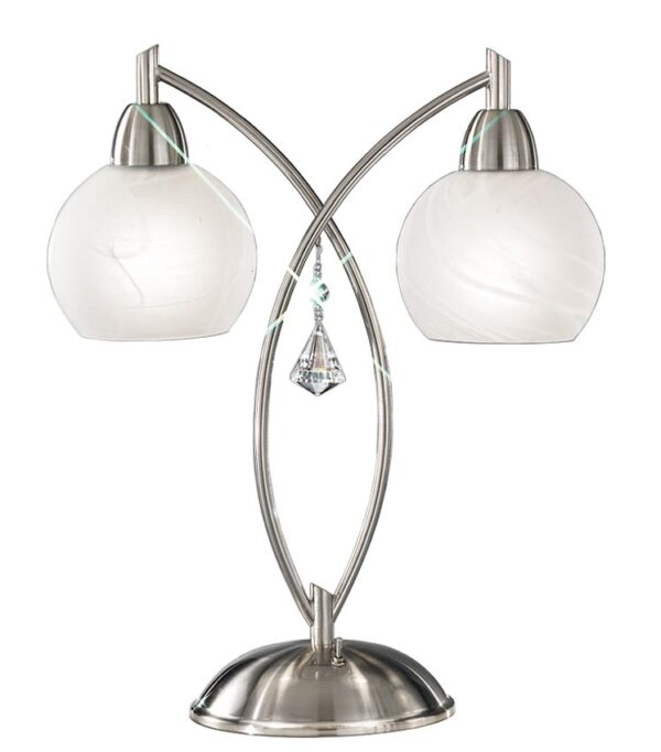 Franklite TL907 Thea 2 light table lamp in satin nickel finish with alabaster glass shades