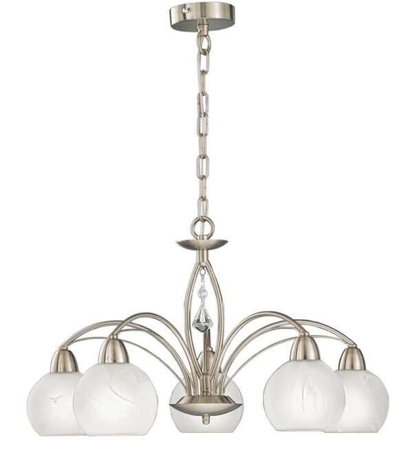 Franklite FL2277/5 Thea 5 arm ceiling light in satin nickel alabaster glass shades