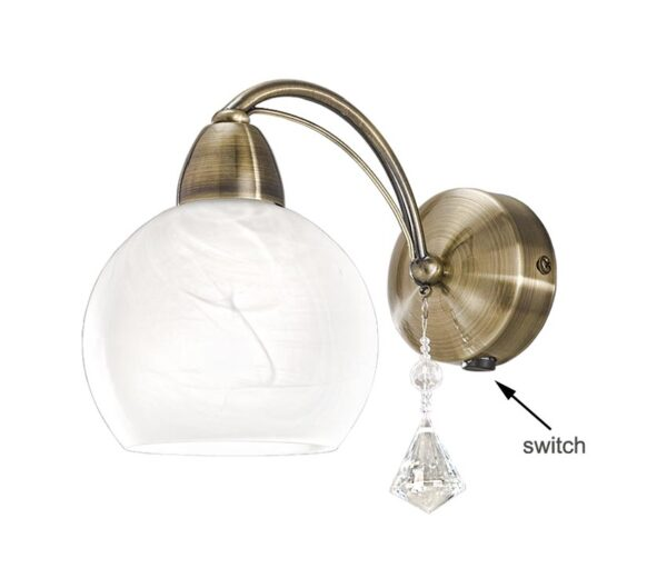 Franklite FL2278/1 Thea switched single wall light in bronze with alabaster glass shade