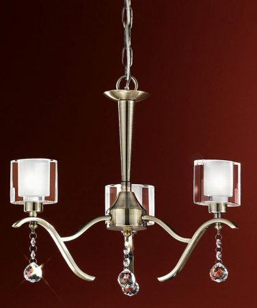 Franklite Theory 3 Light Dual Mount Chandelier Bronze Crystal Drops
