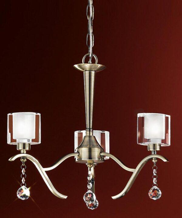 Modern 3 Light Dual Mount Chandelier Bronze Finish Crystal Drops