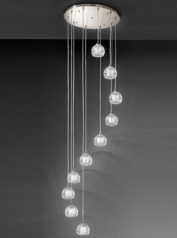Modern 10 Light Spiral Ceiling Pendant Satin Nickel Cut Glass Shades