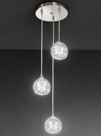 Franklite Tierney 3 Light Multi Level Pendant Satin Nickel Cut Glass