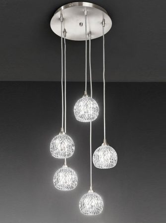Franklite Tierney 5 Light Multi Level Pendant Satin Nickel Cut Glass