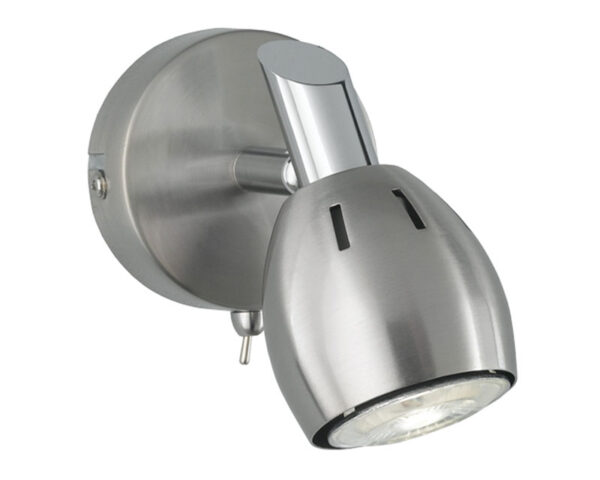 Quality Adjustable 1 Lamp Switched Stylish Wall Spot Light Satin Nickel