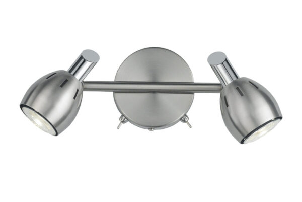 Quality Adjustable 2 Lamp Switched Stylish Wall Spot Light Satin Nickel