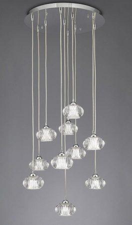 Franklite Tizzy 10 Light Multi Level Ceiling Pendant Chrome Rippled Glass