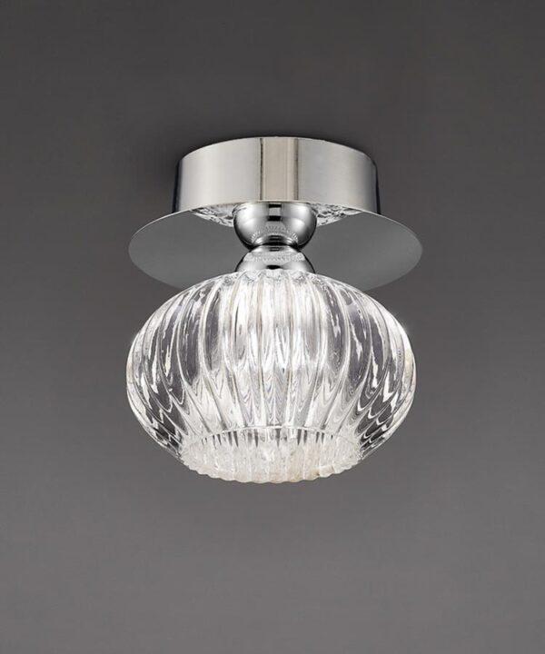 Modern 1 Light Flush Mount Ceiling Light Chrome Ribbed Glass Shade