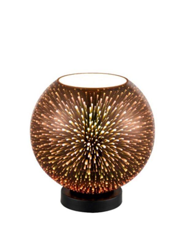 Small 70s Retro Style 1 Light 3D Table Lamp Copper Glass Matt Black