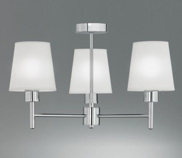 Franklite FL2126/3/1123 Turin 3 arm semi flush ceiling light polished chrome cream fabric shades
