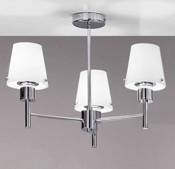 Franklite FL2126/3/991 Turin 3 arm semi flush ceiling light in polished chrome matt opal glass shades