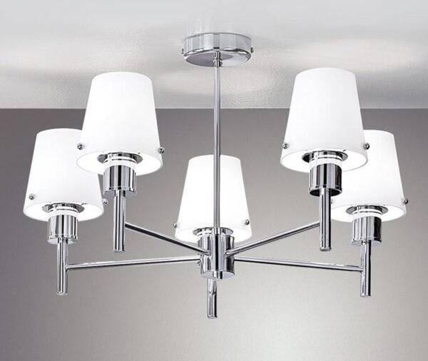 Franklite FL2126/5/991 Turin 5 arm semi flush ceiling light in polished chrome matt opal glass shades