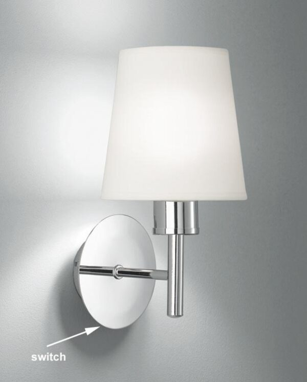 Franklite FL2126/1/1123 Turin single switched wall light in polished chrome with cream fabric shade
