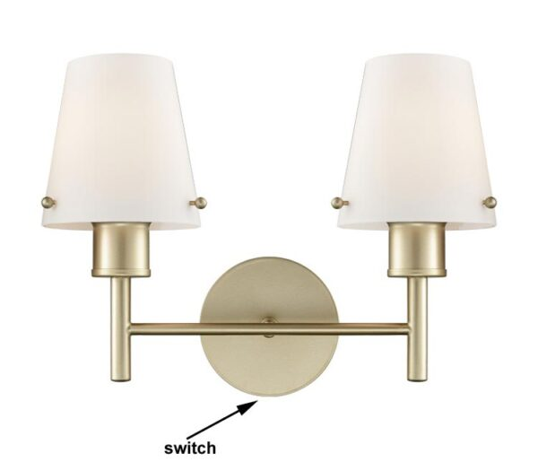 Franklite Turin Twin Switched Wall Light Matt Gold Opal Glass Shades