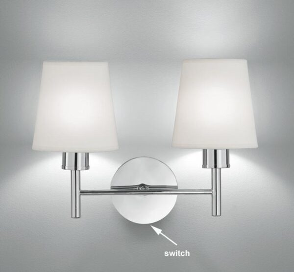 Franklite FL2126/2/1123 Turin twin switched wall light in polished chrome with cream fabric shades