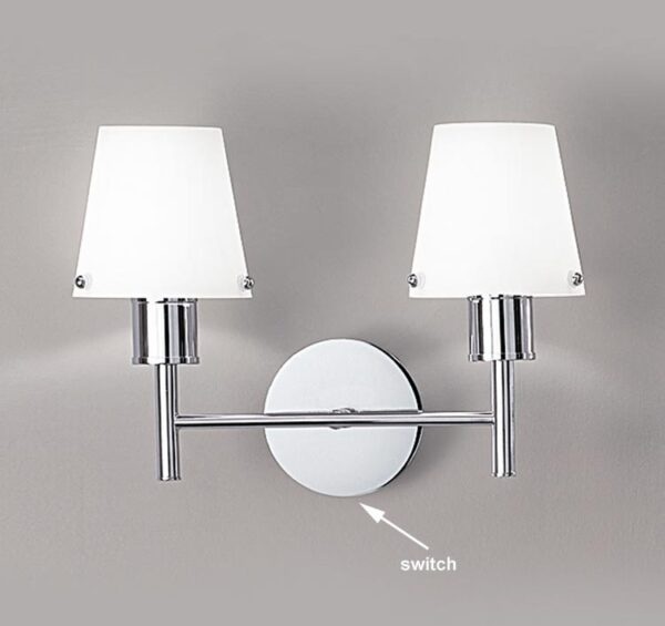 Franklite FL2126/2/991 Turin twin switched wall light in polished chrome with matt opal glass shades
