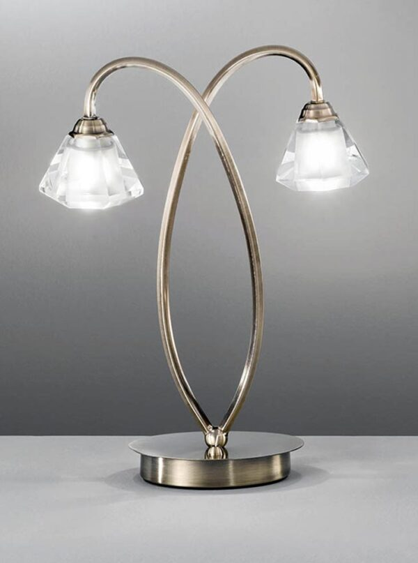 Franklite TL976 Twista 2 light table lamp in soft bronze finish with crystal glass shades