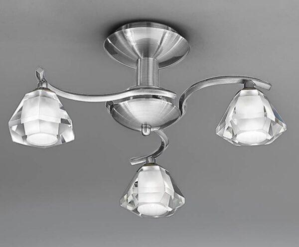 Franklite Twista 3 Light Semi Flush Ceiling Light Satin Nickel Crystal Glass