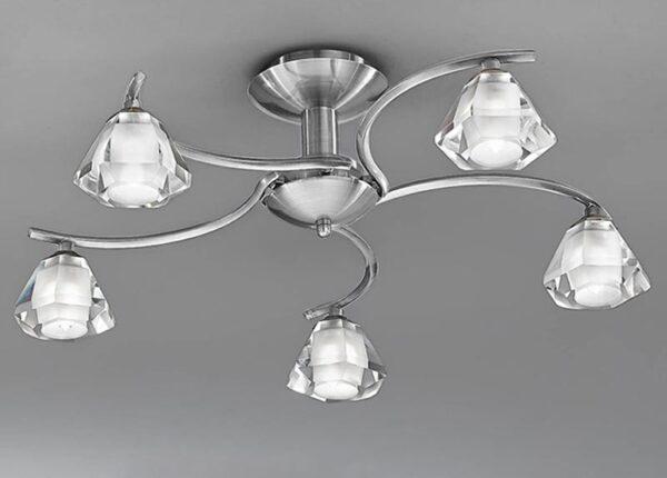 Franklite Twista 5 Light Semi Flush Ceiling Light Satin Nickel Crystal Glass