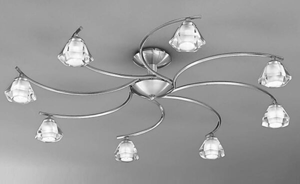 Franklite FL2294/8 Twista 8 light semi flush ceiling light in satin nickel with crystal glass