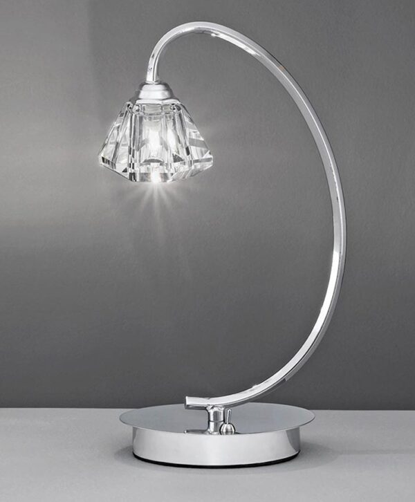 Franklite TL973 Twista single light table lamp in polished chrome with crystal glass shade