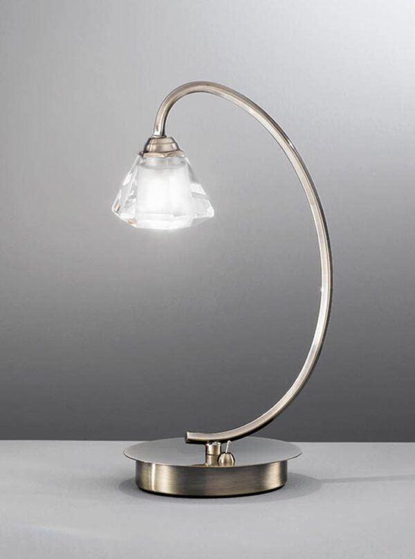 Franklite TL975 Twista single light table lamp in soft bronze with crystal glass shade