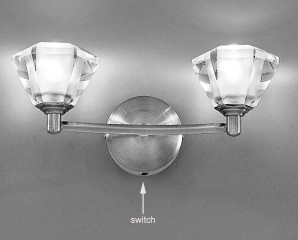 Franklite Twista Twin Switched Wall Light Satin Nickel Crystal Glass