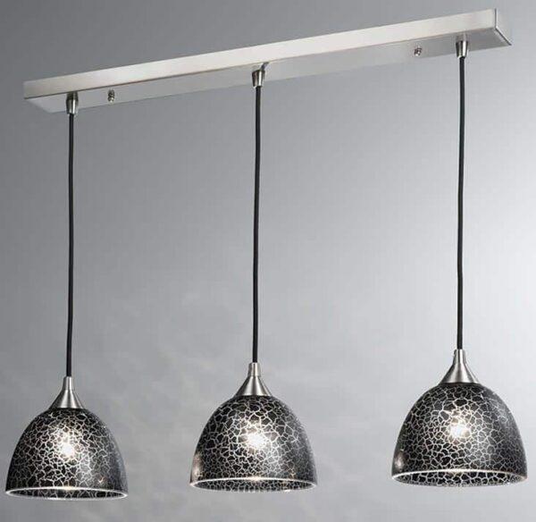 Franklite Vetross 3 Light Black Crackle Glass Ceiling Pendant Satin Nickel