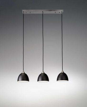 Franklite Vetross 3 Light Black / Gold Glass Ceiling Pendant Satin Nickel