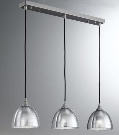 Franklite Vetross 3 Light Silvered Glass Ceiling Pendant Satin Nickel
