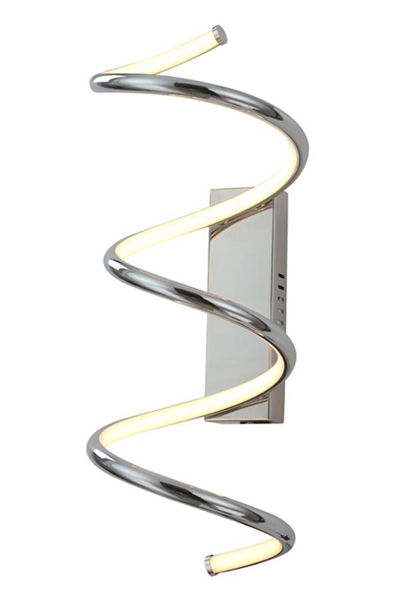 Ultra Modern Spiral 27w Dimmable LED Wall Light Polished Chrome