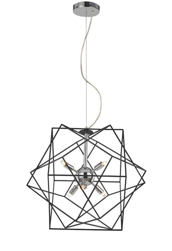 Contemporary 6 Light Geometric Cage Ceiling Pendant Polished Chrome