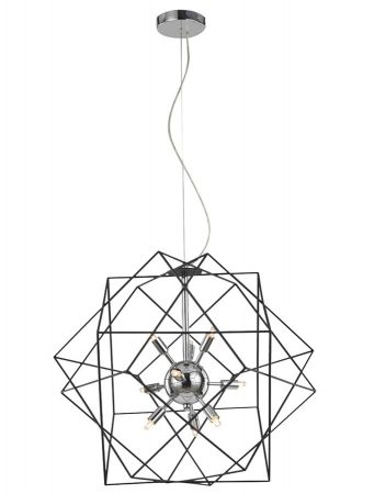 Franklite Vinci 9 Light Chrome Ceiling Pendant Antique Metalwork
