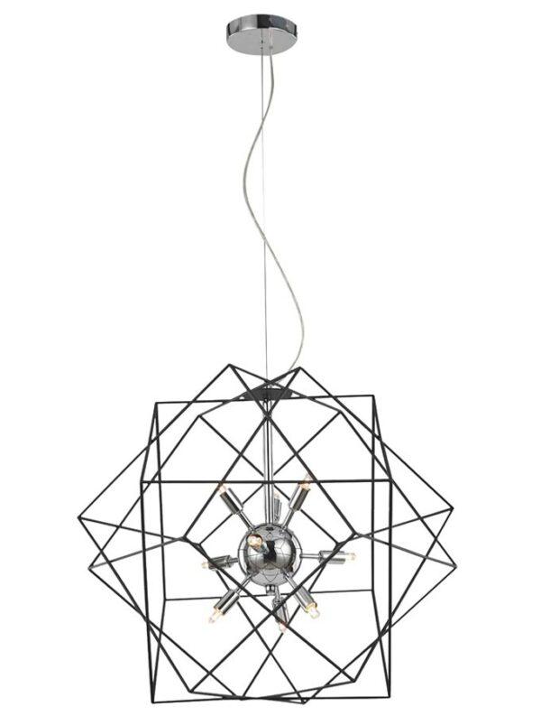 Contemporary 9 Light Geometric Cage Ceiling Pendant Polished Chrome