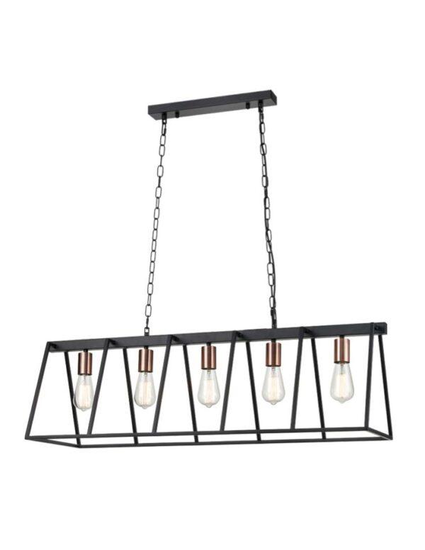 Modern Industrial Style 5 Light Ceiling Pendant Matt Black / Satin Copper