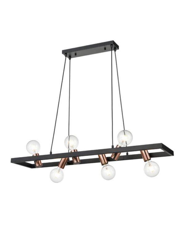 Modern Industrial Style 6 Light Ceiling Pendant Matt Black / Satin Copper