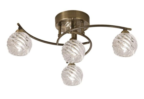 Franklite Vortex 4 Lamp Semi Flush Ceiling Light Bronze Swirled Glass