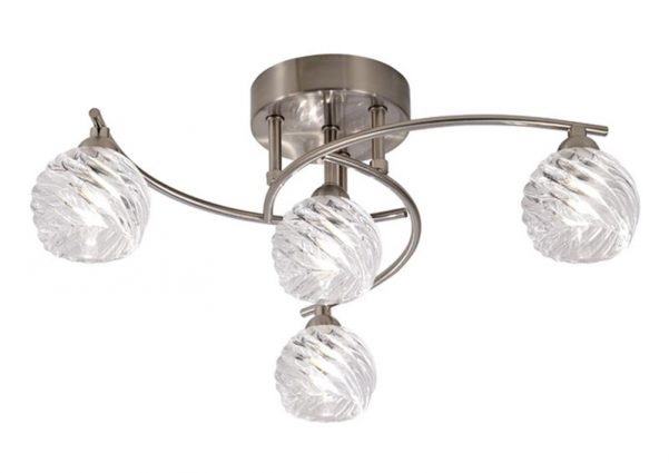 Franklite Vortex 4 Light Semi Flush Ceiling Light Satin Nickel Swirled Glass