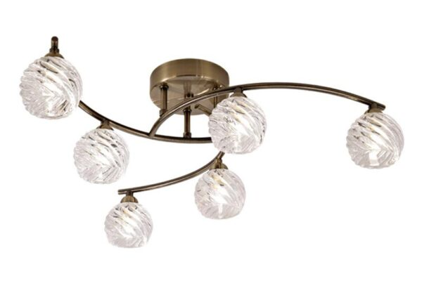 Franklite FL2358/6 Vortex 6 lamp semi flush ceiling light in bronze with swirled glass