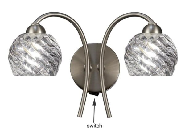Franklite FL2357/2 Vortex twin switched wall light in satin nickel with swirled glass