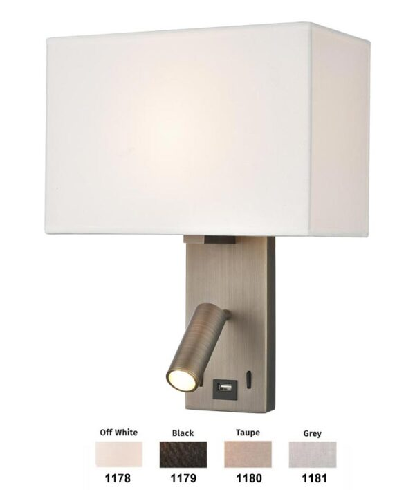 Bedside LED Wall Reading Light USB Port Bronze Rectangular Shade