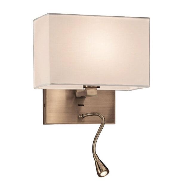 Bedside Wall Flexible LED Reading Light Bronze Finish Off White Shade
