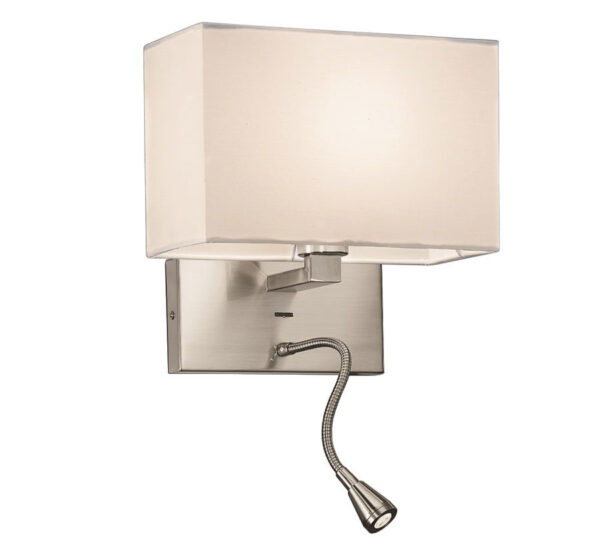 Bedside Wall Flexible LED Reading Light Satin Nickel Off White Shade