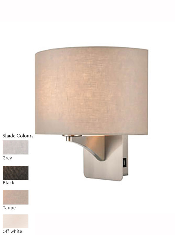 Single Switched Bedside Wall Light USB Port Satin Nickel Shade Choice